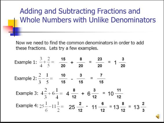 Objective 6.6: Multiply, Divide, Add, & Subtract Fractions and ...